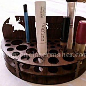 الگوی استند لوازم آرایشی چوبی با فرمت کورل برای دستگاه لیزر طرح ۱۱۰4 از نمای روبرو