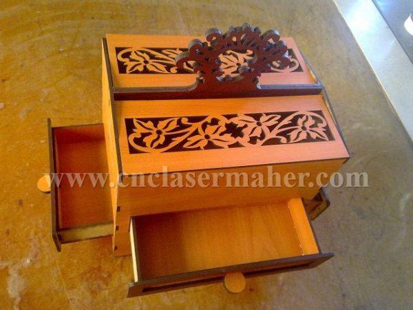 الگوی جعبه لوازم آرایشی چوبی با فرمت کورل برای دستگاه لیزر طرح ۱۱۰۱ از نمای بغل