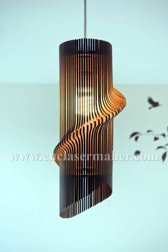 الگوی لوستر سقفی چوبی با فرمت کورل برای دستگاه لیزر طرح 1100 بر روی لامپ