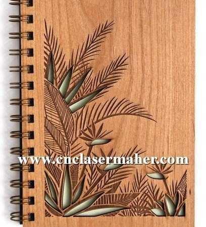 جلد چوبی فنری دفتر طرح لیزر رایگان 1002