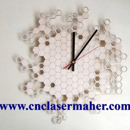 1086saathoneycomb 450x450 - ساعت چوبی دیواری اتاق کودککندوی زنبور عسل طرح لیزر رایگان 1086