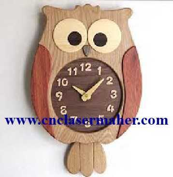 1087joghd - ساعت چوبی دیواری جغد طرح لیزر رایگان 1087
