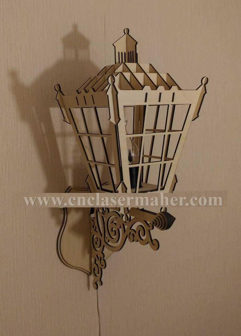 الگوی جا شمعی دیواری چوبی با فرمت کورل برای دستگاه لیزر طرح ۱۱۰5 از نمای کنار