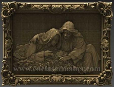 تابلو چوبی نقش برجسته تولد مسیح طرح رایگان سی ان سی