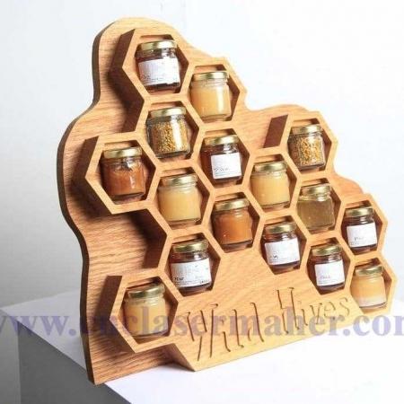 دکور چوبی کندوی زنبور عسل طرح رایگان لیزر مناسب مغازه ها و کافی شاپ ها