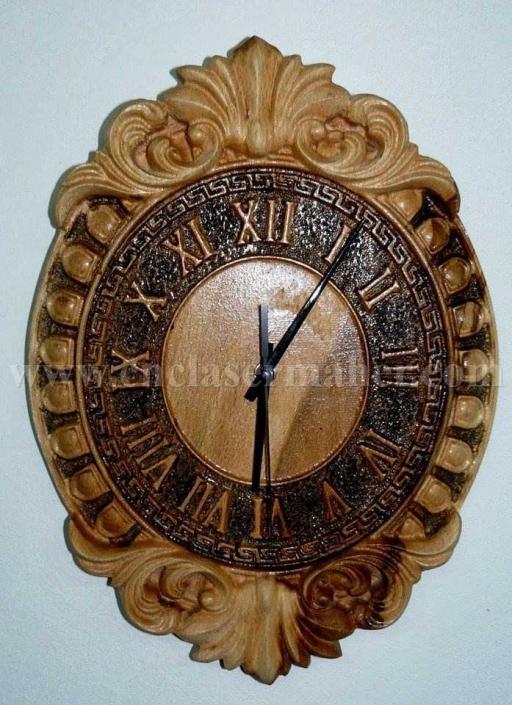 ساعت چوبی گل دار طرح سی ان سی رایگان