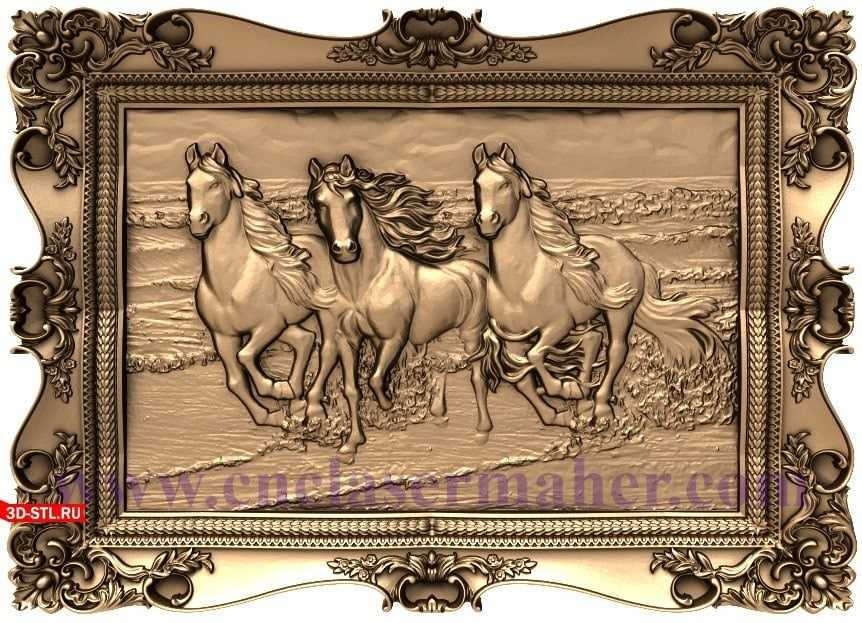 تابلو نقش برجسته چوبی اسب طرح cnc 1159