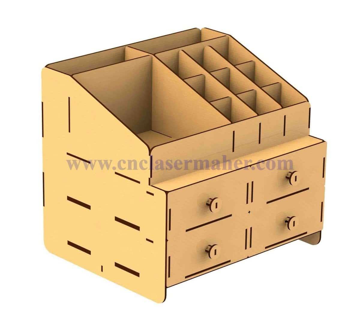 جعبه لوازم آرایشی رومیزی چوبی طرح لیزر 1143