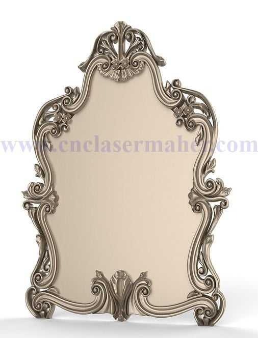 قاب چوبی آینه و تابلو طرح سی ان سی رایگان 1162 از روبرو