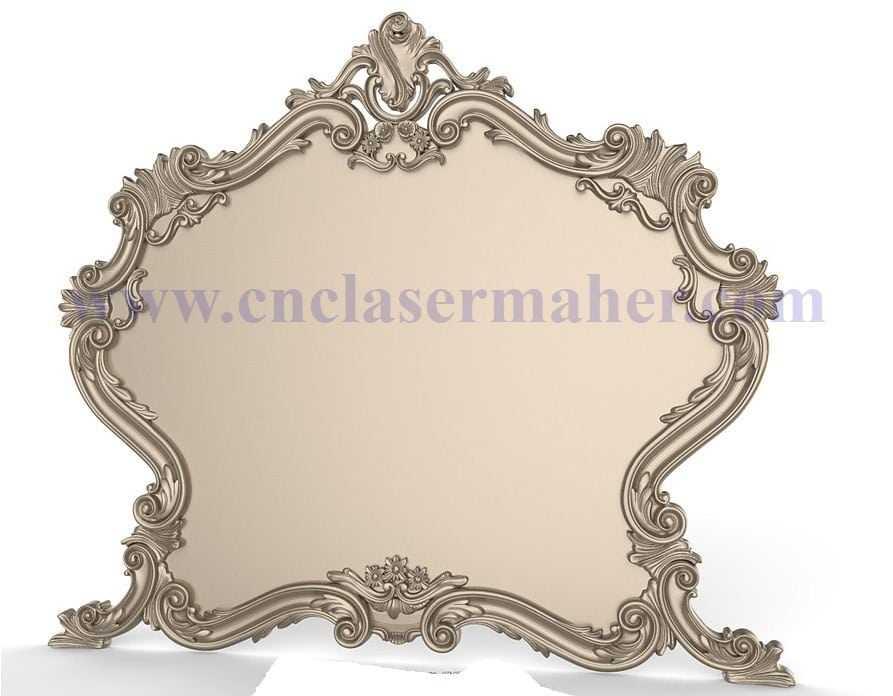 قاب آینه چوبی منبت کاری شده طرح سی ان سی 1166
