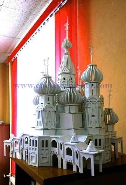 پازل سه بعدی کلیسای سنت باسیل طرح لیزر 1160