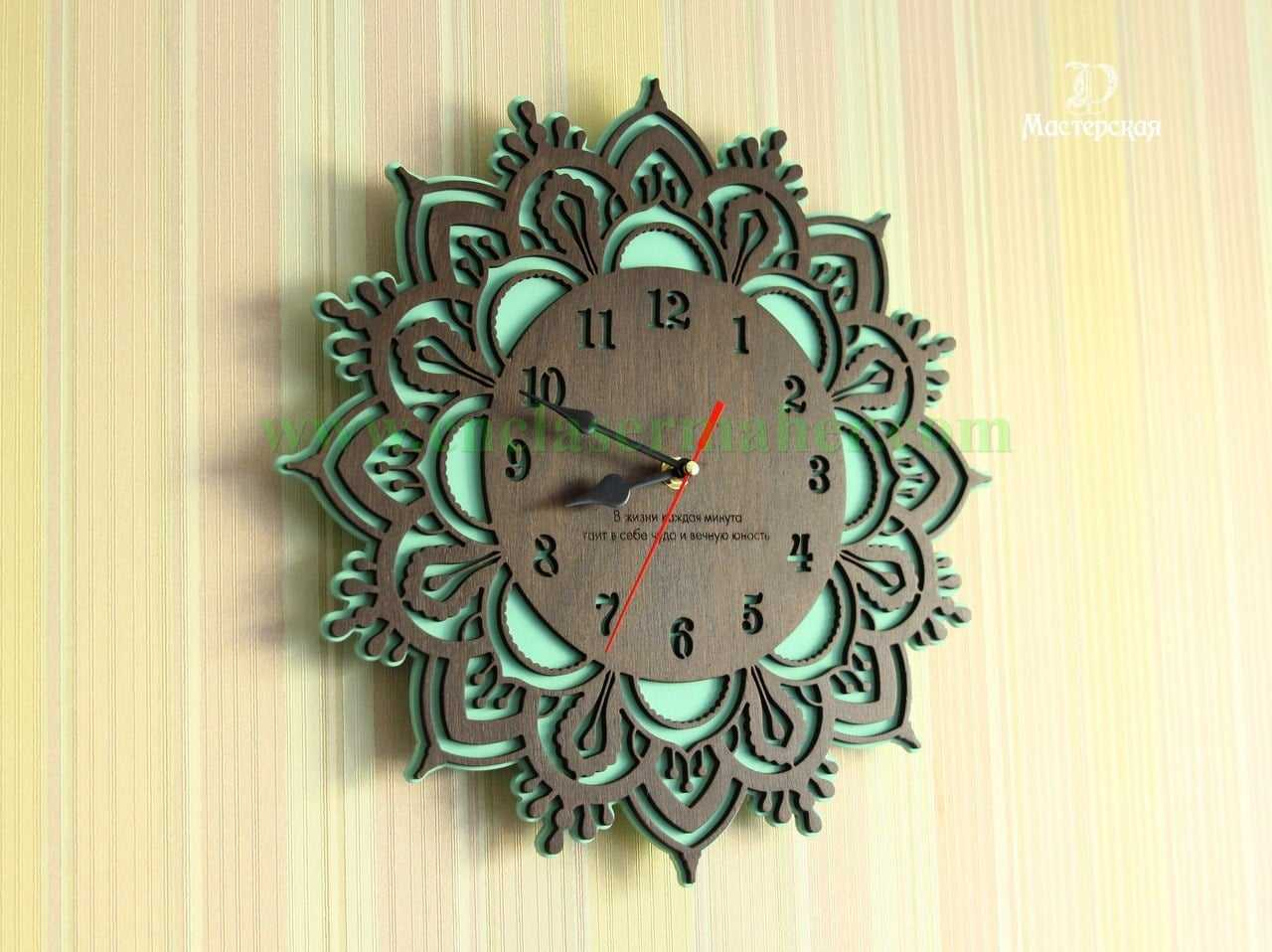 ساعت دیواری چوبی طرح رایگان دستگاه برش و حکاکی لیزر co2