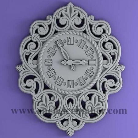 ساعت دیواری چوبی نقش برجسته طرح سی ان سی رایگان 1182