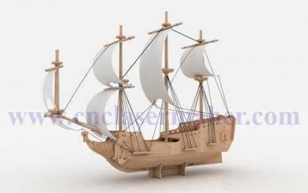 پازل سه بعدی چوبی کشتی دزدان دریایی طرح رایگان لیزر 1181