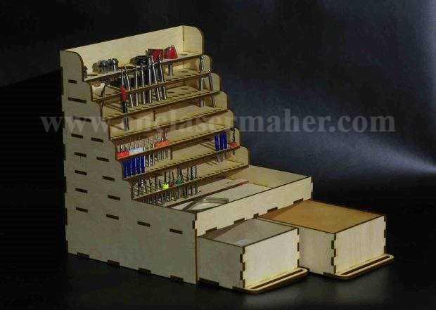 استند جعبه ابزار چوبی طرح لیزری رایگان 1196