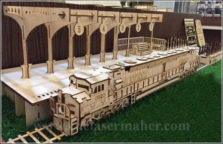 پازل سه بعدی چوبی ایستگاه قطار و لوکوموتیو طرح لیزر 1198