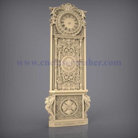 ساعت ایستاده چوبی نقش برجسته طرح سی ان سی 1216