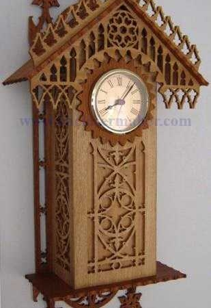 ساعت دیواری چوبی مدل خانه طرح رایگان لیزری 1220