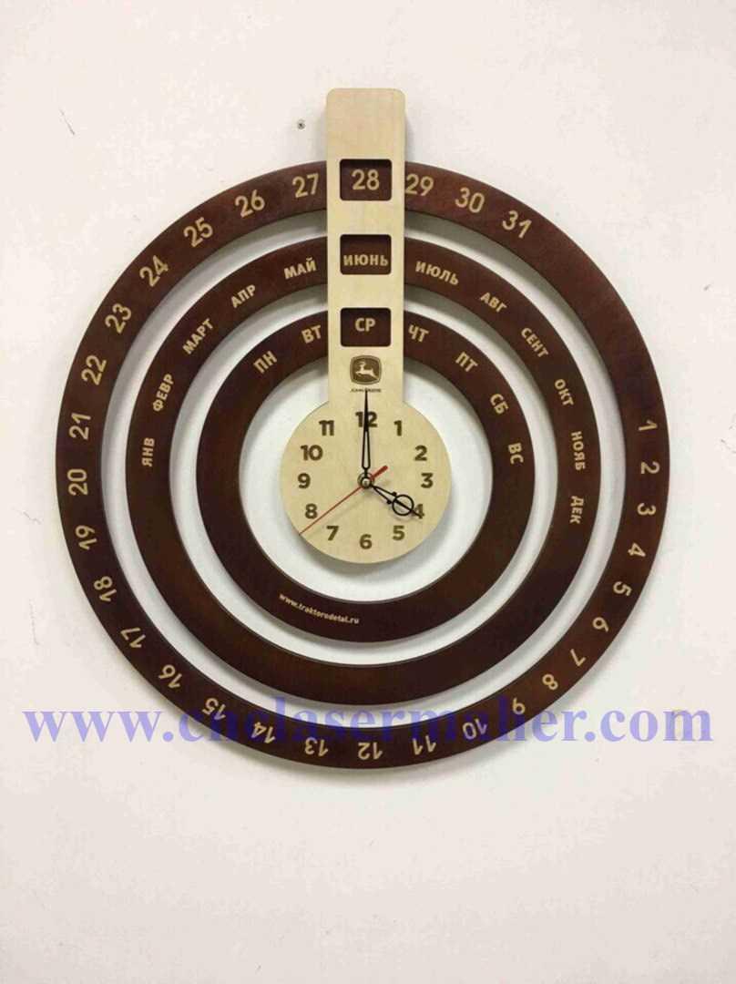 ساعت و تقویم روزشمار چوبی طرح لیزر رایگان 1215