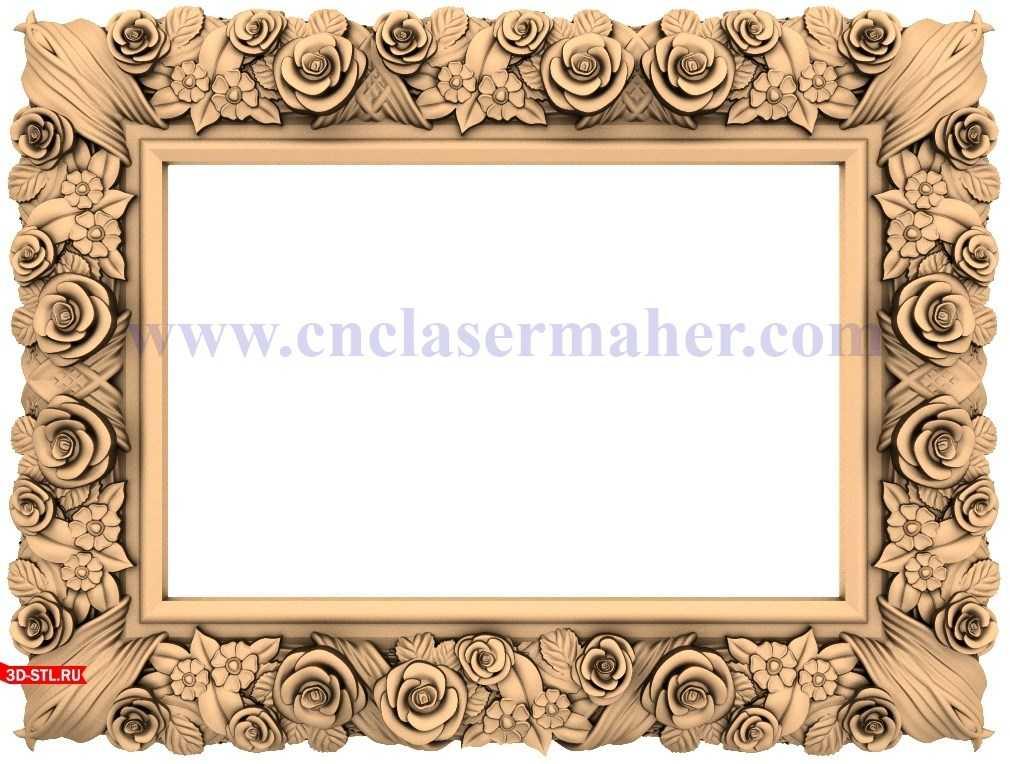 قاب چوبی تابلو فرش آینه گل رز طرح cnc رایگان 1208
