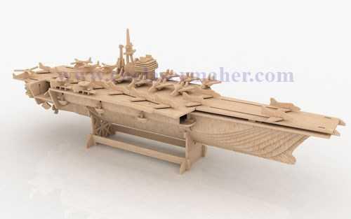 پازل سه بعدی ناو هواپیمابر طرح لیزری رایگان 1212