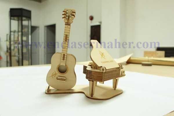 پازل سه بعدی پیانو و گیتار چوبی طرح دستگاه برش و حکاکی لیزر 1223