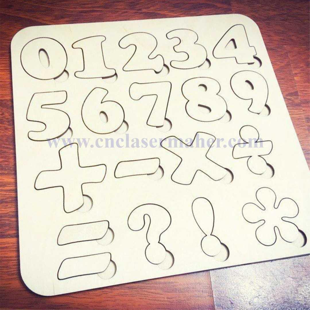 پازل چوبی آموزش اعداد طرح رایگان لیزر 1216