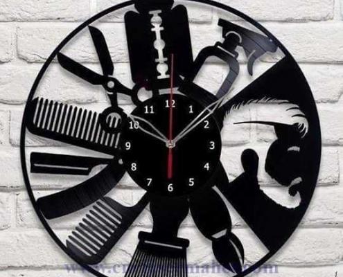 ساعت چوبی آرایشگاه طرح دستگاه برش و حکاکی لیزر 1234
