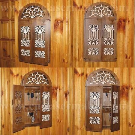 جا کلیدی دیوارکوب چوبی طرح دستگاه برش و حکاکی لیزر 1258