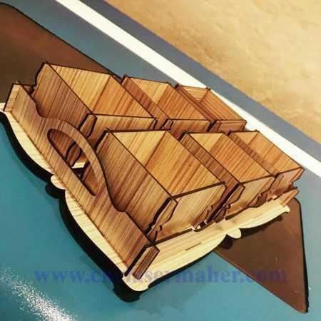 سینی آجیل چوبی دو کاره طرح دستگاه برش و حکاکی لیزر 1259