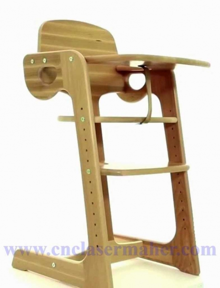 صندلی غذای کودک با قابلیت تنظیم ارتفاع طرح دستگاه cnc منبت 1254