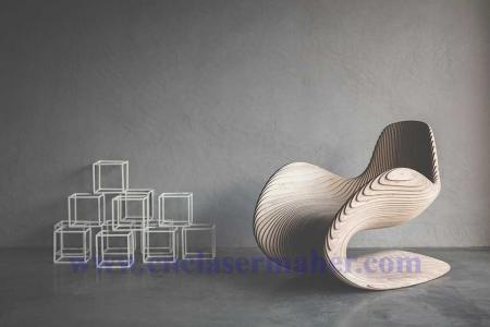 صندلی چوبی پارامتریک طرح دستگاه سی انسی cnc چوب 1257