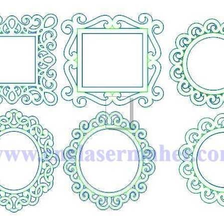 قاب آینه چوبی طرح دستگاه cnc سی ان سی منبت 1263