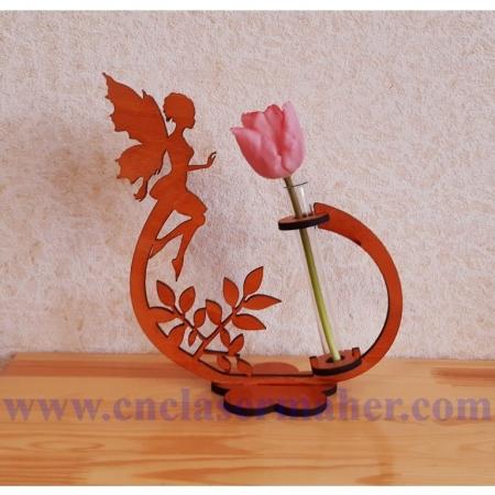 گلدان چوبی گل رز طرح دستگاه برش و حکاکی لیزر 1255