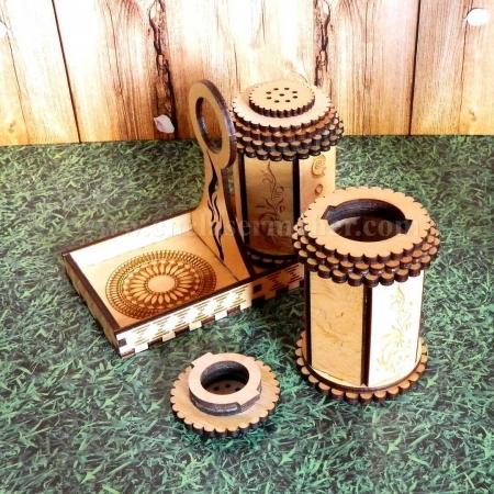 نمکدان چوبی طرح دستگاه برش و حکاکی لیزر 1275