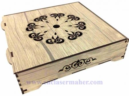جعبه آجیل چوبی طرح دستگاه برش و حکاکی لیزر 1281