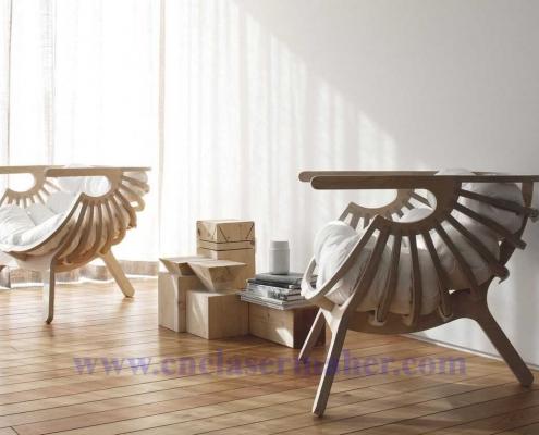 صندلی پارامتریک چوبی طرح دستگاه سی انسی 1283