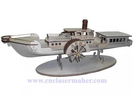 پازل سه بعدی چوبی کشتی طرح دستگاه برش لیزری 1299