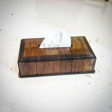 جعبه دستمال کاغذی چوبی طرح دستگاه برش و حکاکی لیزر 1314