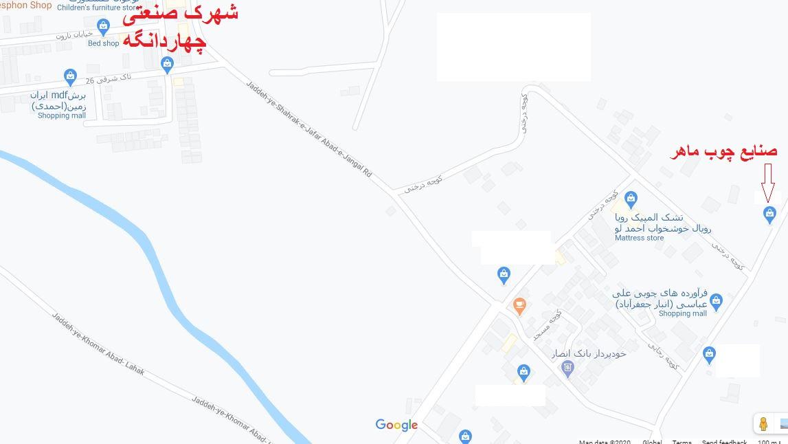 ادرس کروکی صنایع چوب ماهر