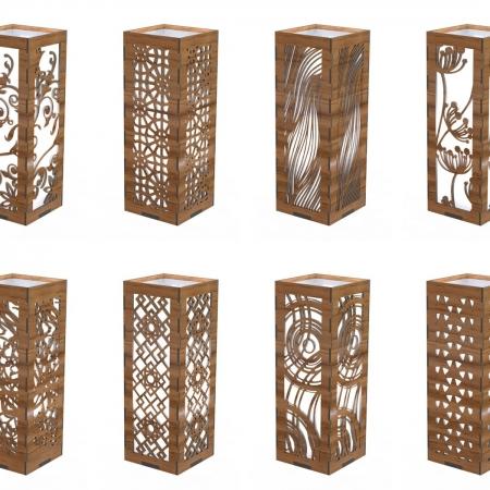 آباژور مکعب چوبی طرح برش لیزری 1325