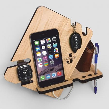 استند موبایل و اکسسوری چوبی طرح دستگاه برش لیزر 1321_ACD_0